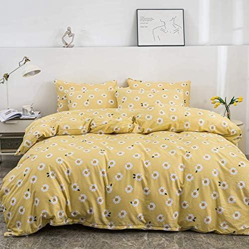 JELLYMONI Sunflower Duvet Cover Set White Sunflower Pattern Printed on Yellow Cotton Duvet Cover product image