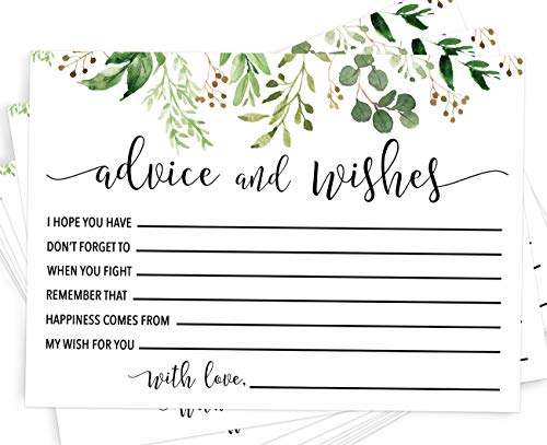 Advice and Wishes, Set of 50 Advice Cards for The Bride and Groom, Unique Wedding Guestbook Alternative and Bridal Shower Activity