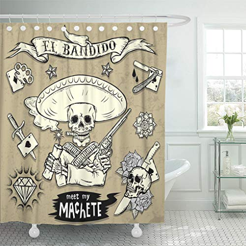 Emvency Shower Curtain Cartoon Gun of Old School Tattoo Skulls Diamond Graffiti Shower Curtains Sets with Hooks 72 x 78 Inches Waterproof Polyester Fabric