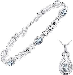"RYLOS Love Knot Matching Jewelry Set Tennis Bracelet & Pendant Necklace Gemstone & Diamonds in Sterling Silver .925 - Adjustable bracelet to Fit 7""-8"" Wrist & 18"" Chain"