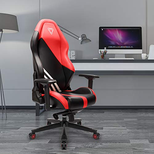 Furgle Office Gaming Chair Racing Style High-Back Office Chair w/4D Adjustable Armrests PU Leather Executive Ergonomic Swivel Video Game Chairs with Rocking Mode (Black & Red) chair gaming red