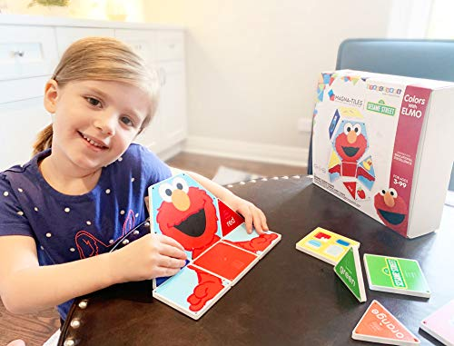 CreateOn Sesame Street Colors with Elmo, The Original Magnetic Building Tiles Making Learning Basic Colors Fun and Hands-On, Versatile Educational Toy for Children Ages 3 Years +