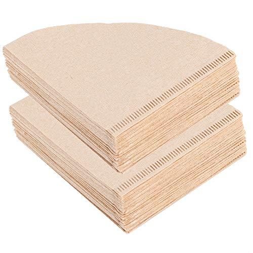 Cikonielf 80 Stück Einweg-Kaffeefilterpapier Kegelförmige Holzzellstoff-Tropfkaffeekanne Zubehör für das Home Office Beige(V01 for 1-2 People)