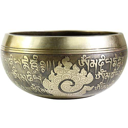 WANGXIAO Singing Bowl Set, Hand gehamerd Tibetaanse Singing Bowl Brons Mantra Ontwerp Met Zijde Kussen En Mallet Striker Voor Meditatie Yoga Mindfulness