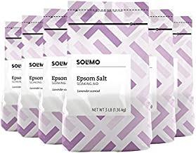 Amazon Brand - Solimo Epsom Salt Soaking Aid, Lavender Scented, 3 Pound (Pack of 6)