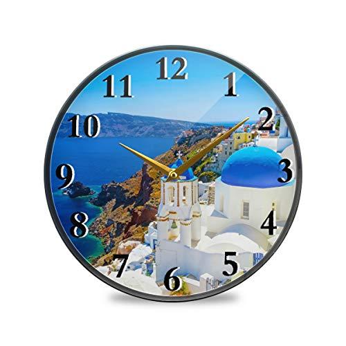Rulyy Wanduhr Acryl Meer Griechenland Santorini Ständer leise nicht tickend batteriebetrieben rund Hängende Uhr Antik Stil für Wohnzimmer Küche Schlafzimmer, multi, 11.9x11.9in