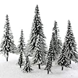 Set of 15 Miniature Flocked & Frosted Winter Snow Model Pine Trees in Assorted Sizes for Christmas Train Displays, Dioramas, Fairy Gardens, Village Displays and Holiday Dollhouses
