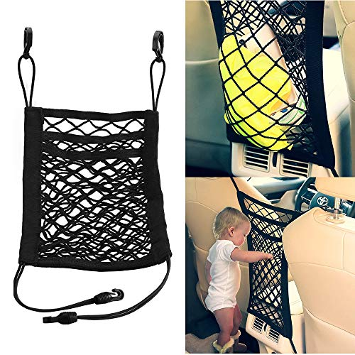WJkuku 3-Layer Car Mesh Organizer, Pet Barrier Dog Car Net Barrier, Seat Back Cargo String Net Pouch Holder, Cargo Tissue Purse Holder for Purse Bag Phone Pets Children Kids Disturb Stopper