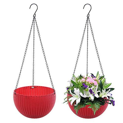 Surenhap 2 Pièces Panier de Jardinière Suspendu en Plastique Jardin Plante et Fleurs pour Suspendre Décoration - Rouge