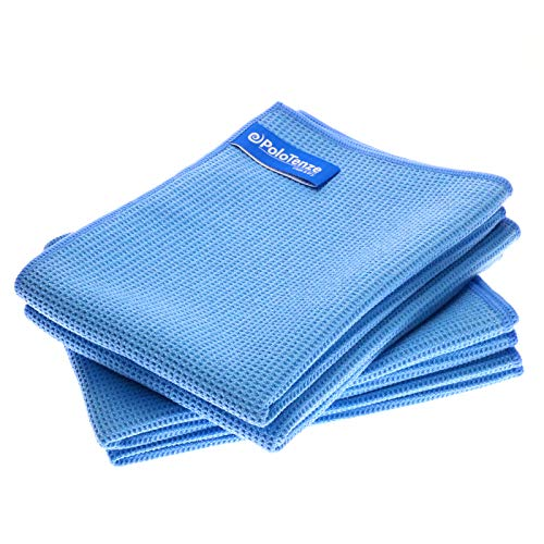 PoloTenze Premium Mikrofaser Trockentuch Waffeltuch | 40x60 cm | für Auto, Glas, Küche, Geschirr, Bad uvm. | Blau, 4er Pack