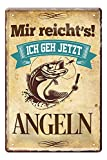 Angelschild - Blechschild - Metallschild mit witzigen Spruch für Angler Sportangler Fischer - Retro Deko Schild Angler-Stube Angel-Verein - Geschenk Freizeit- und Hobbyangler - Petri Heil - 20x30cm