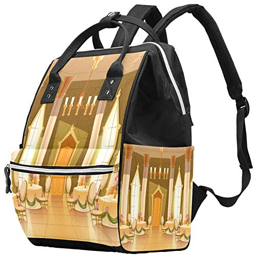 Mochila multifunción, grande para pañales, diseño de castillo de dibujos animados para salones de baile, recepciones reales, bolsa de pañales, mochila de viaje para mamá y papá