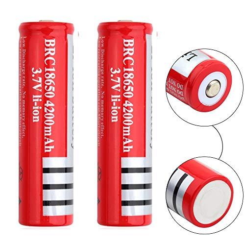 18650 Batería Batería Recargable 18650 4200 mAh 3,7 V BRC Li-Ion Litio-Ion 1200 ciclos 18650 Pilas Recargables Celda linternas Faros Delanteros, 66 x 18 mm, Rojo (Cantidad: 2)