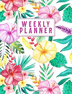 WEEKLY PLANNER: Weekly Agenda, Priorities, Notes, Daily Habits + Things To Buy | Beautiful Flower Cover (Academic Tropical...