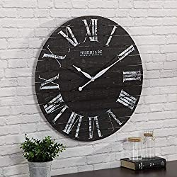 FirsTime & Co. Midnight Shiplap Wall Clock, 29, Distressed Black, White