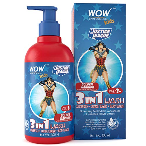 WOW Skin Science Kids 3 in 1 Wash - Shampoo + Conditioner + Body Wash - Golden Warrior Wonder Woman Edition - No Parabens, Color, Mineral Oil, Silicones & Sulphate - 300mL