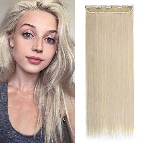 """30"""" Rajout Cheveux Extension Monobande A Clip Cheveux Lisse Synthétique - Blond Très Clair - Une Pièce Avec 5 Clips Extension A Clip de Cheveux Longue"""