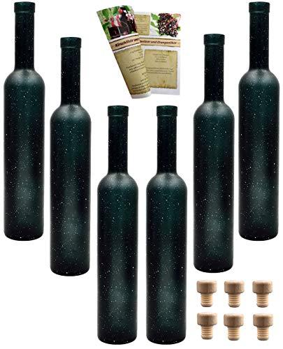 gouveo Leere Glasflaschen Bordeaux 500 ml Weihnachten incl. Holzgriffkorken zum selbst Abfüllen Likörflasche Schnapsflasche (12 Flaschen Stern Holzgriffkorken)