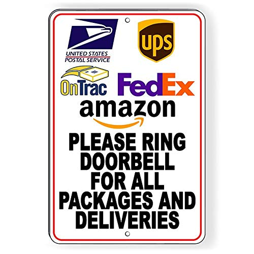 Thomas655 OnTrac USPS ring deurbel voor pakketten en leveringen metalen bord SI