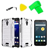 for Alcatel Pixi Theatre OT5098O 9001A 9001X /Pixi 4 6.0 (6) 5098S Brush Hybrid Cover Case Cell Phone Accessory + Screen Protector + Extreme Band + Stylus Pen + Pry Tool (Brush Silver Black)