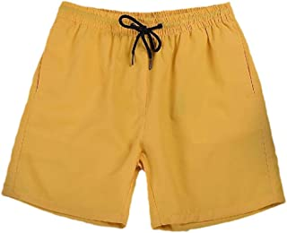 Howely Men Quick Dry Swimsuit Solid Polyester Square Leg Board Shorts