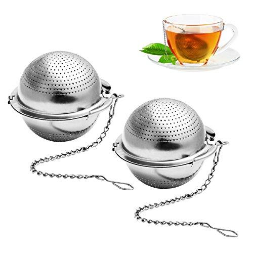 BESTONZON 2 Stück Teesieb 5.5 cm Teeei mit Kette 304 Edelstahl Teefilter für losen Tee und Mulling Gewürze