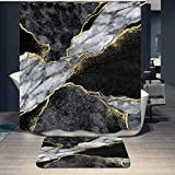 2 Piece Black Grey & Gold Texture Marble Shower Curtain Set and Non-Slip Mat Rugs for Bathroom Abstract Art Marble Bath Curtain Decor with 12 Hooks (72'x72') (Marble Texture)