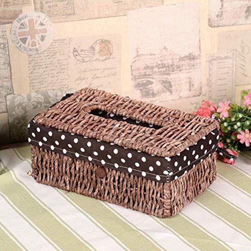 MLOZS Creative handmade straw non-tank car tissue box paper napkin box corn paper box Dark corn skin section tissue box tissue box (Color : Dark Corn Skin Section Tissue Box)