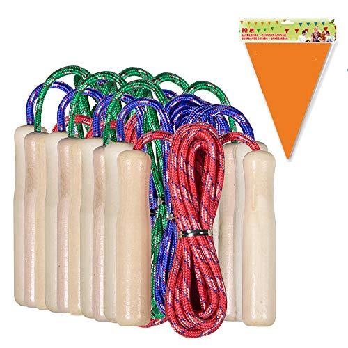 Partituki Packung mit 20 Springseilen. Holzgriff Springseile. Ideal für Spiele im Freien und Kindergeburtstagsgeschenke.
