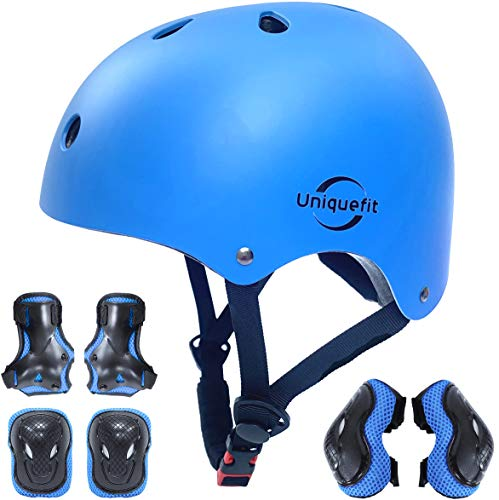 Kids Boys and Girls Protective Gear Set, Outdoor Sports Safety Equipment 7Pcs Child Helmet Knee &Elbow Pads Wrist Guards for Roller Scooter Skateboard Bicycle (Blue, M(8-13years Old))