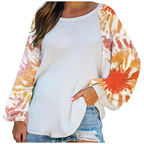 Damen Oversized Tops Tie Dye Sweatshirt für Damen Freizeit Batwing Langarm Cosy Shouchy Rundhalsausschnitt Loose Pullover Tunika Tops Shirts(Orange,3XL)