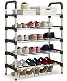 udear shoe organizer 5-tier 151 pairs shoes rack tower shelf storage (black)