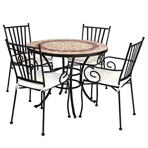 Conjunto de Mesa y 4 sillas de jardín Helene de Hierro con Mosaico de cerámica marrón - LOLAhome