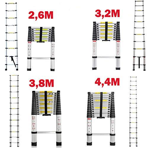 2,6M/3,2M/3,8M/4,4M Alu-Teleskopleiter Aluminium Klappleiter Rutschfester Sicher Aluleiter Mehrzweckleiter Stehleiter Ausziehleiter Tragbar Leichte Leiter 150 kg Belastbarkeit,EN131-Zertifizierung