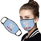 Sylar Escudo Facial Tela De AlgodóN Suave Impresa Universal Reutilizable para De San Parejas De San ValentíN,Escudo Facial De Seguridadde Polvo para De Se Puede Lavar (L)