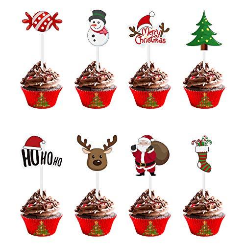 Amosfun 72PCS Toppers Cupcake Natalizi Decorazione per Torta Albero di Babbo Natale Pupazzo di Neve Calza Candy Tema Party Cake Toppers Scelte Forniture per Decorazioni Natalizie
