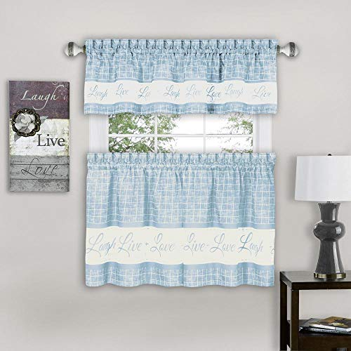 """PowerSellerUSA Country Gingham Check Live Laugh Love 3PC Cafe Plaid Kitchen Curtain, Tier Pair and Valance Set, 58"""" x 24"""", Light Blue"""
