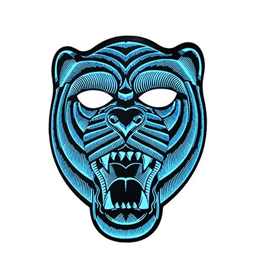 YBBGHH Led-partymasker, met geluid geactiveerd, lichtgevend masker, Halloween Cosplay Party, oplichtend knipperend masker voor dansen, paardrijden, skaten
