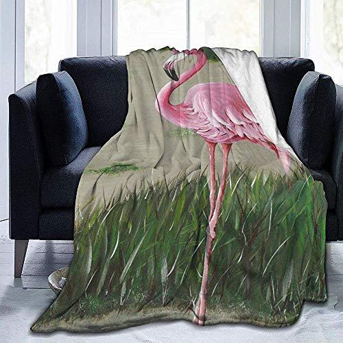alice-shop Tropical Pineapple Pink Flamingo Art Ultra-Soft Cozy Micro Fleece Blanket, Ideal para Viajes de Oficina en dormitorios