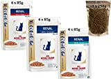 Royal Canin Feline Renal Mix of x4 Tuna x4 Chicken x4 Beef Cat Food each 85gram With 250g Renal Pouch of Dry Food