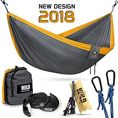 Portable Double Hammock for Camping and Backpacking, Ultralight Parachute Nylon, 2 Daisy Chain Loops Straps, Carabiners and Fire Starter, Durable Outdoor Hiking Gear Holds 500lbs: Travel Lightweight!