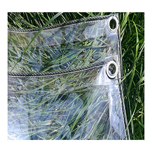 LSXIAO-Tarpaulin PVC Tarp, Transparent Sheet Waterproof Dust-proof with Anti-rust Grommet for Balcony Rain Shelter, Furniture Cover (Color : Clear, Size : 2.5x5m)