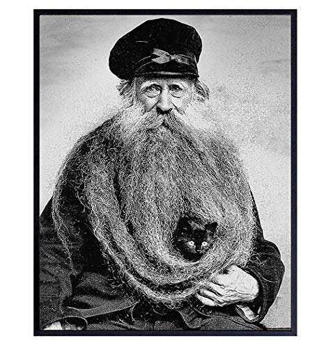 Sea Captain w/Black Cat Wall Art - Weird Creepy Vintage Photo - Nautical Wall Decor - Beach House Decor - Gift for Cat Lover, Ocean Wall Art and Boating Fans, Men, Sailor - 8x10 Poster Picture Print