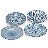 Foraineam Set of 4 Blue and White Porcelain Serving Plates Floral Dinner Shallow Plates Ap...