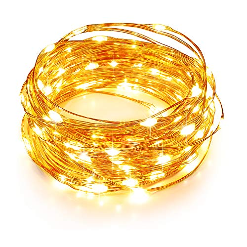 TaoTronics LED String Lights 33ft with 100 LEDs, Waterproof Outdoor & Indoor Christmas Decorative Lights for Bedroom, Garden, Patio, Parties. UL588 and TUVus Approved (Copper Wire Lights, Warm White)
