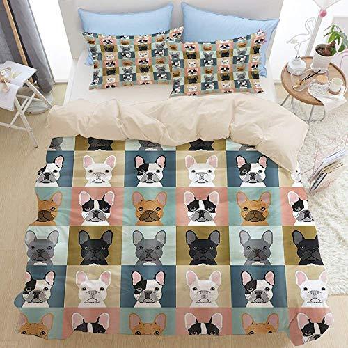 Set di biancheria da letto 3 pezzi di qualità premium, tema animali bulldog francese, set copripiumino moderno con cerniera deluxe e 2 fodere per cuscini Ultimo unico morbido copripiumino in microfibr