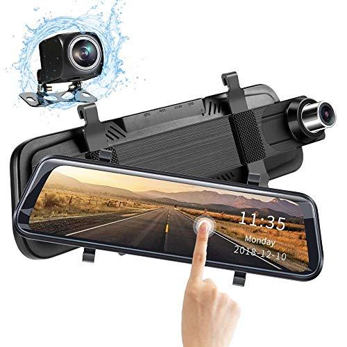 Tacógrafo, Dash CAM Delantera Y Trasera, Visión Nocturna 1080P HD 170 Grados Dashcams para Coches 10 Pulgadas IPS 2.5D Pantalla Curva WDR Lente Extraíble