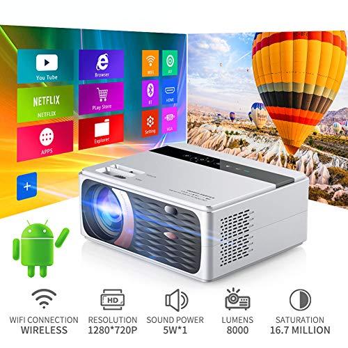 GBBG 55W Full HD 1080P proyector 4K 8000 lúmenes Proyector Cine Beamer para Android 10.0 HDMI de WiFi VGA AV Puerto USB