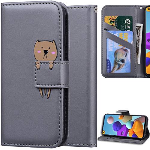 DodoBuy Hülle für Samsung Galaxy A21s, Cartoon Tiere Muster Magnetische Flip Cover PU Leder Schutzhülle Handy Tasche Brieftasche Wallet Hülle Ständer mit Kartenfächer - Grau H&