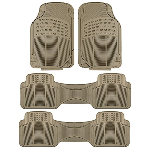 FH GROUP F11306BEIGE-3ROW Floor Mat (Trimmable Heavy Duty 3 Row SUV All Weather 4pc Full Set – Beige)